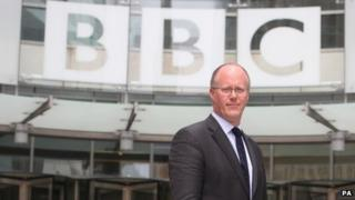 George Entwistle outside New Broadcasting House