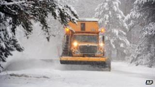 A snowplough near Merrifield, Minnesota, on 4 December 2013