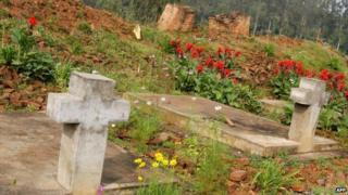 Mass grave and remains of the Catholic church in Nyange, in the western Rwandan photographed in 2004