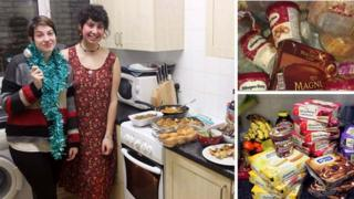 Libby Russell (L) and Luiza Hamidi (R) pictured with images of the food they have found in bins