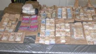 Police released a photograph of the seized cash