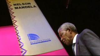 Nelson Mandela in Birmingham in 1993