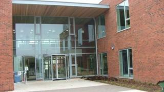 Entrance to the new County Hall at Usk