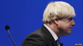 Boris Johnson finishes a speech in London in October