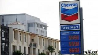 Sign at a Chevron petrol station in Los Angeles, California 9 October 2012