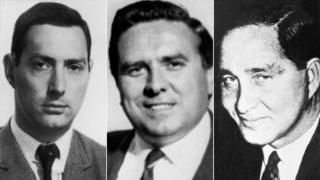 "From left to right, police shots of Bruce Reynolds, Ronald ""Buster"" Edwards, Ronnie Biggs at the time of the robbery in 1963"