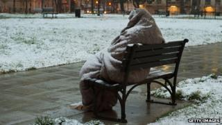 Homeless person in the snow