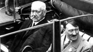 Hindenburg and Hitler in a car