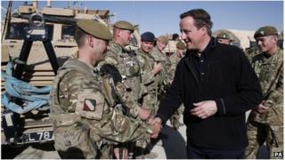 David Cameron meets British troops in Afghanistan