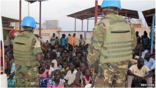 Civilians at the UN mission outside Juba in South Sudan