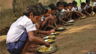 Midday meals are served even in the country's poorest and most inaccessible villages, like this hamlet of Kharonibazar Gram Panchayat in Dumka district, Jharkhand.