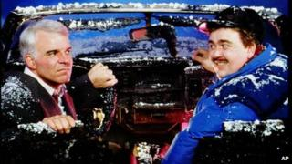 Steve Martin and John Candy in the 1987 film Planes, Trains and Automobiles
