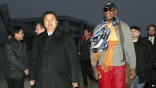 North Korean Vice Sports Minister Son Kwang Ho and Dennis Rodman