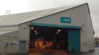 Arriva bus depot in Aberystwyth