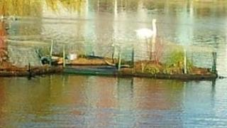 Floating islands for swans built on Brayford Pool in Lincoln