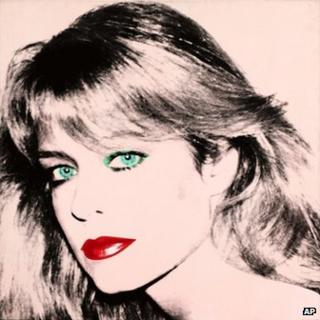 "This photo released by courtesy of the Blanton Museum of Art shows Andy Warhol's painting of ""Farrah Fawcett,"" 1980"