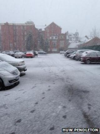 Snow on the Metropole Hotel in Llandrindod Wells on Thursday
