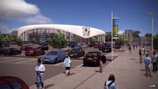 Street level view of the proposed CCFC stadium