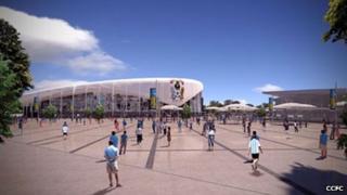 Site view of the proposed CCFC stadium