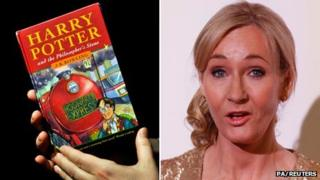 JK Rowling beside a first edition of her first Harry Potter book