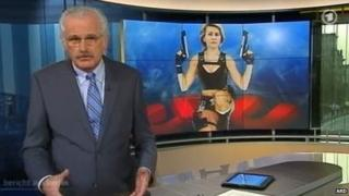 German TV shows montage depicting then labour minister Ursula von der Leyen as Lara Croft-type character