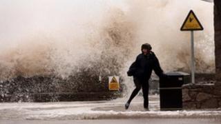 Tidal storm surge in Rhyl, December 2013