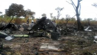 "the burnt wreckage of a Mozambican Airlines plane at the site of its crash in Namibia""s Bwabwata National Park"