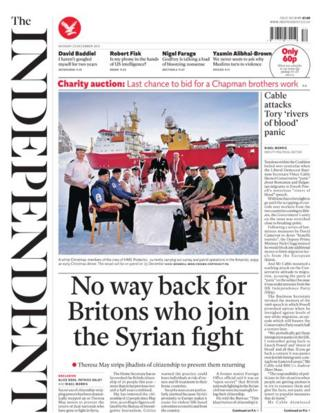 Independent front page 23/12/13