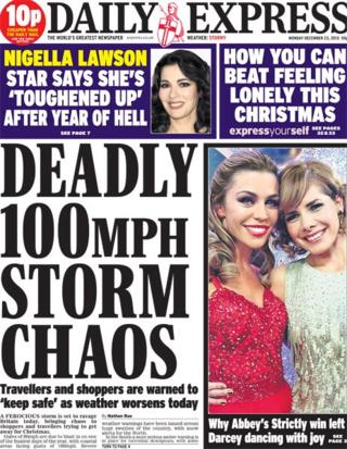 Daily Express front page 23/12/13