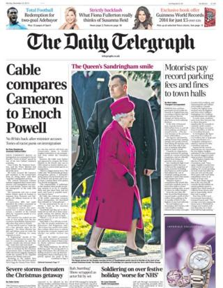 Daily Telegraph front page 23/12/13