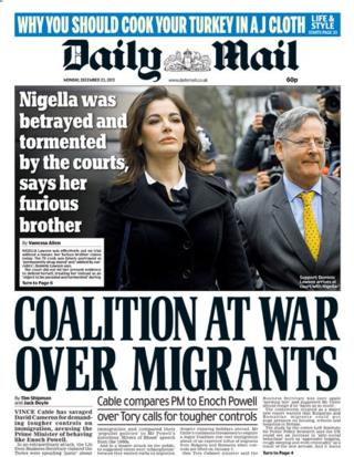 Daily Mail front page 23/12/13