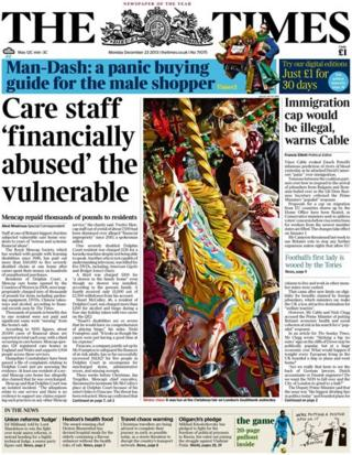 Times front page 23/12/13
