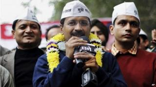 """India""""s Aam Aadmi Party (AAP), or Common Man""""s Party leader Arvind Kejriwal speaks at a public meeting in New Delhi, India, Sunday, Dec. 22, 2013."""