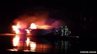 Boat on fire at Strood Yacht Club