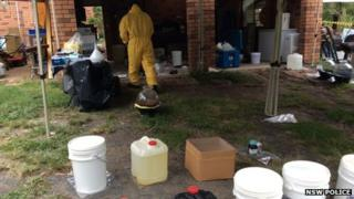 Police at the property in Ourimbah, Central Coast, where they said they found the drug lab