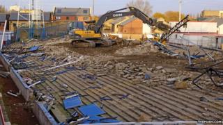 Demolished Moy's End stand at Peterborough United