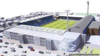 Artist's impression of new London Road stadium, Peterborough