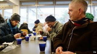 Homeless guests at Crisis at Christmas centre in London
