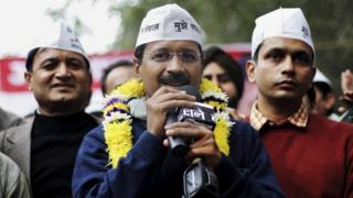 "India""s Aam Aadmi Party (AAP), or Common Man's Party leader Arvind Kejriwal speaks at a public meeting in New Delhi, India, Sunday, Dec. 22, 2013."