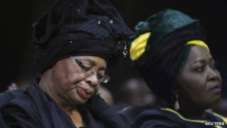 Graca Machel at Nelson Mandela's funeral on 15 December