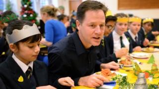 Nick Clegg joins pupils from St Clement Danes Primary School in central London for Christmas lunch