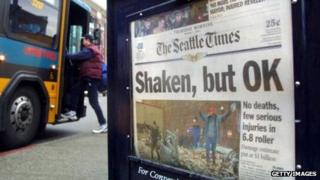 A Seattle Times newspaper on March 1, 2001, the day after the city experiences a 6.8 magnitude earthquake