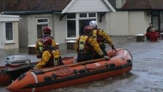 Rhyl flood rescuers go to the aid of people