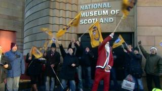 Members of the Public and Commercial Services Union formed a picket line outside the museum