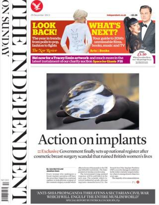 Independent on Sunday front page 29/12/13