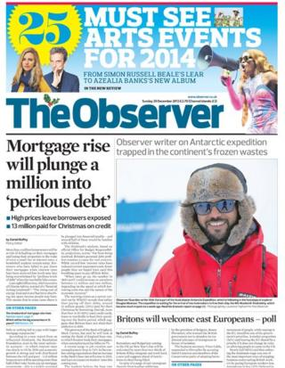 Observer front page 29/12/13