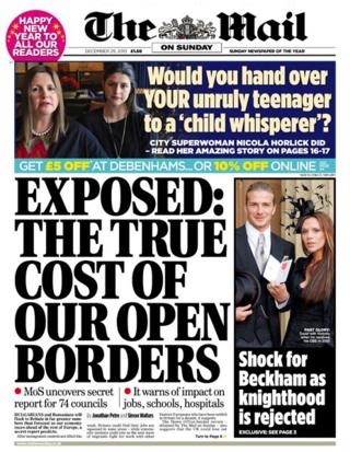 Mail on Sunday front page 29/12/13