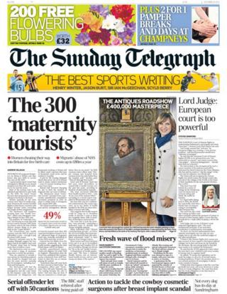 Sunday Telegraph front page 29/12/13