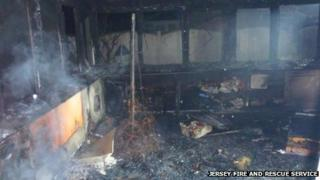Conservatory destroyed by fire