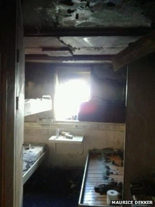 A burnt cabin on the MS King Seaways after a fire broke out
